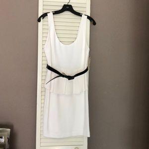 White Alice and Olivia Peplum Dress with Belt